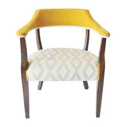 Mid-Century Yellow & Light Blue Arm Chair - Dimensions 26.0ʺW × 15.0ʺD × 31.0ʺH