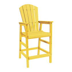 C.R. Plastic Products - C.R. Plastics Pub Chair In Yellow - Can be used for residential or commercial use, Ergonomically designed, Heavy 78 gauge plastic lumber 12 used by competitors, All stainless steel hardware, No painting, No slivers, No Rot, Completely waterproof