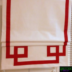 ✰ Custom Roman Shades - Ribbon Style Decor ✰ - This Greek Key Roman Shades will definitely make a statement in your home especially since Roman Shades are just a great way to bring color and texture to your home decor instead of using the rather unattractive plastic or wooden shades