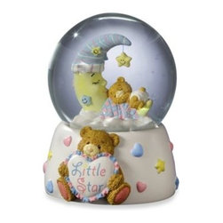 "San Francisco Music Box Company - Teddy Bear on Lighted Moon Water Globe - This adorable Teddy Bear on Lighted Moon Water Globe is both hand painted and hand scultped. This water globe is also a music box which plays ""Brahms Lullaby"" and is perfect for lulling your little one to sleep at night."