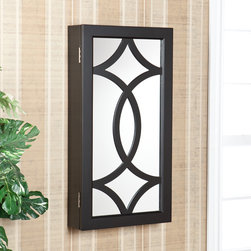 Upton Home - Upton Home Charlot Wall Mount Jewelry Mirror Armoire - This jewelry mirror features a shiny black finish and a bold,contemporary design. This well-designed wall mount jewelry mirror will be a beautiful addition to any bedroom,walk-in closet,bathroom or entryway.