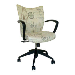 9 to 5 Seating - French Script Office Chair - It's a pleasure doing business with this office chair. Plush upholstery in a chic, French script fabric, plus curved arms and swivel/tilt motion, add extra enjoyment to any task you've got to tackle.