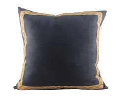 Navy Linen with Jute-on-Cotton Hanmpton Trim Throw Pillow - Trading out throw pillows is such a quick, inexpensive way to add a whole new dimension to a room. We don't do it enough! These beautiful navy ones would add pizzazz to any sofa.