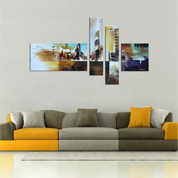 None - Hand-painted 'Sleepless City' 4-piece Gallery-wrapped Canvas Art Set - Sleepless City' is a four-piece contemporary canvas art set that features a modern take on cityscapes. The hustle and bustle of life downtown comes to life in the abstract images,making this a perfect gift for any collector of hand-painted artwork.