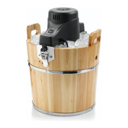SUNBEAM RIVAL - 4QT WOODEN ICE CREAM BUCKET - Traditional wood ice cream bucket. Makes 4 quarts of homemade ice cream. Use your favorite ingredients. Motorized electric crank. Solid pine wood bucket.            Size Qt =4  This item cannot be shipped to APO/FPO addresses.  Please accept our apologies