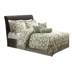 Pem America - Sage Leaf Shadow Queen Comforter Set with Bonus Pillows - Soft sage green background serves as a base for a delicate leafy vine outline print.  This pattern will being softness and  a delicate feel to your bedroom. Includes 1 queen comforter 86x86 inches with two standard shams (20x26 inches), bed skirt to fit mattress 60x80 inches. Includes neckroll pillow, square pillow and breakfast pillow. 100% microfiber face.  100% hypoallergenic polyester fiber fill. Machine washable.