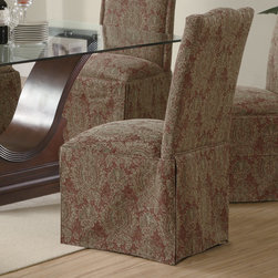 Coaster - Slauson Collection Brown Parson Chair, Set of 2 - The high back parson chair features a simply curved crest with classic nail head trim around the edge. A plush padded seat creates a comfortable place to rest, with a beautiful pleated skirt covering the legs below.