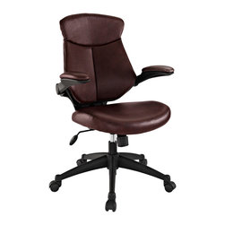 Modway - Modway EEI-1103 Stealth Mid Back Office Chair in Brown - Versatility to match your mood makes Stealth a prime choice in office seating. A cushioned removable leatherette back reveals a dynamic and ventilated counterpart beneath. Padded leatherette arms and seating combine with adjustable height and tension knob to create the ultimate in personalized decor. Hooded dual wheel casters allow effortless gliding across any surface. Instead of just choosing of chair, elect to inaugerate Stealth into your space, and your work will never be the same.