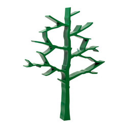 Nurseryworks Tree Bookcase Forest Green - A tree grows in a forest — or in the nursery and stores books.