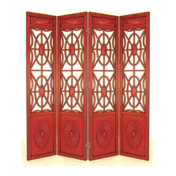 Wayborn - Spider Web Screen w 4 Panels in China Red - Red is a bold choice that brings excitement in the form of a decorative room divider. Framing is solid wood with panel insets at top and bottom. Carved medallions at the base are oversized to complement the hub and circle design repeating across each panel. 4 Panels. Made from solid Basswood. Antiqued with a smooth finish. 72 in. W x 78 in. H (72 lbs.)