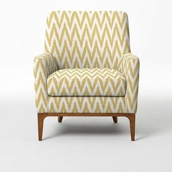Sloan Upholstered Chair - Chevron, Horseradish | West Elm - Classic curves. A modern update to the quintessential club chair, our Sloan Upholstered Chair has a smooth silhouette and inviting shape. Covered in a range of upholstery print options, it's prime for long, lounging afternoons.