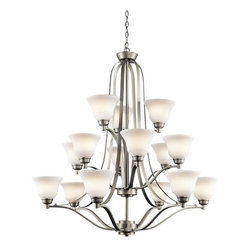 Kichler Lighting - Kichler Lighting Langford 15-Light Transitional Chandelier X-IN9871 - This classic 15 light, 3 tier from the Langford&trade: collection is a timeless accent fitting for any space. The Brushed Nickel&trade: finish and Etched White Glass combine to create a refined statement.