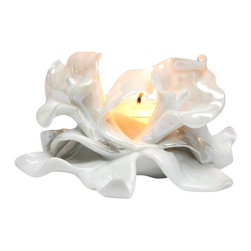 ATD - 3.88 Inch Decorative Calla Lily White Porcelain Tealight Candle Holder - This gorgeous 3.88 Inch Decorative Calla Lily White Porcelain Tealight Candle Holder has the finest details and highest quality you will find anywhere! 3.88 Inch Decorative Calla Lily White Porcelain Tealight Candle Holder is truly remarkable.