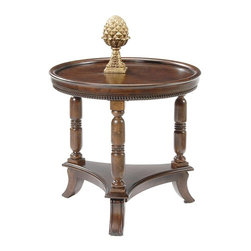 Liberty Furniture - Round Lamp Table in Cherry Finish - Beaded molding. Complimentary bail hardware. Turned leg with tapered foot. Multi-step hand applied glazed finish. Warranty: One year. Made from select hardwoods and oak veneers. 26 in. Dia. x 25 in. H (33 lbs.)