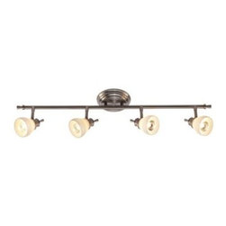 Hampton Bay - Hampton Bay 4-Light Satin Nickel Directional Ceiling or Wall Track Lighting Fixt - Shop for Lighting & Fans at The Home Depot. The Hampton Bay 4 Light Bar Satin Nickel Directional Fixture will provide style and light to any decor. The traditional styling of this fixture features a satin nickel plated finish with opal white glass shades. The individual heads are directional and can be aimed to highlight or create dramatic lighting effects.