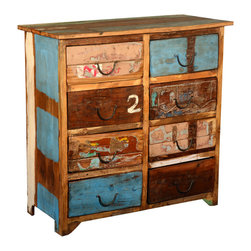 "Sierra Living Concepts - Distressed Rustic Reclaimed Wood 8 Drawer Double Dresser Chest - Celebrate imagination, creativity, and playfulness with the Distressed Rustic Reclaimed Wood 8 Drawer Double Dresser Chest. This handmade 37"" tall chest is a smart Green choice because it's built with solid reclaimed wood from Gujarat."
