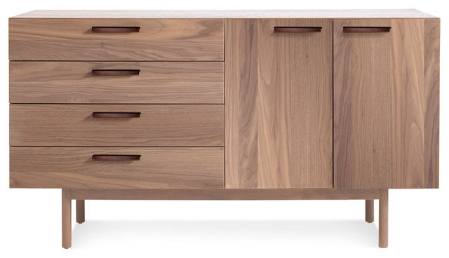 Blu Dot Shale 4 Drawer / 2 Door Credenza, Light Walnut modern-buffets-and-sideboards