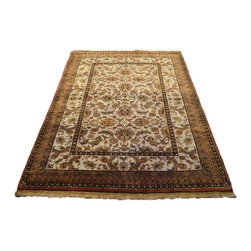 Kashan Revival New Zealand Wool 300 Kpsi 4'X6' Hand Knotted Oriental Rug SH7057 - This collection consists of fine knotted rugs.  The knots per square inch means more material in the rug as well as more labor.  This leads to a finer rug and a more expoensive rug.  Classical and traditional persian motifs are usually used as designs in these rugs.