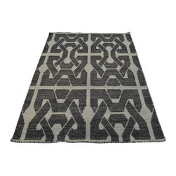 1800-Get-A-Rug - Oriental Rug Reversible Geometric Kilim 100% Wool Hand Woven Sh19980 - The Flat Weave hand woven rug is a type of area rug created by weaving wool onto a foundation of cotton warps on a loom. The Flat Weave rug offers the same beauty and durability as the classical thick-pile Oriental rugs, but without the telltale thick pile often spotted in other handmade rugs. This gives the Flat weave a thin and flat appearance which resembles the Needlepoint, making them wonderfully ideal choices as accent rugs, wall hangings, or to drape over furniture and staircases.