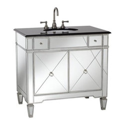 Mirrored and Black Granite Bathroom Sink Vanity - Mirrored cabinetry adds an unexpected sense of glitz and glamour to any bathroom.
