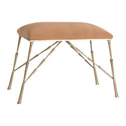 Studio A - Spike Bench with Muslin Cushion - The Spike Bench is gold finished and comes with an attached muslin cushion.