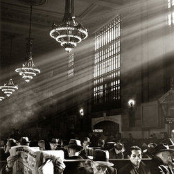 """""""New York Grand Central Station Waiting Room"""" Artwork - New york grand central station waiting room was photographed in 1952. i am not sure whether all of these people were waiting for a train or just trying to keep warm. notice that almost all of the men are wearing hats. it is printed with a slightly warm tone on 13""""x19"""" hahnemuhle, 325gsm, fine art baryta paper. the image is 9.0""""x10.8"""" signed by norman lerner just below the lower right hand corner of the live area image."""
