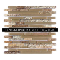 All Marble Mosaic Glass and Stone blend Random Strip 12 x 12 Mosaic Tile Mag-443 - Glass and Stone Blend Mosaic Tiles and Backsplash from All Marble Tiles | All Marble Mosaic Glass and Stone blend Random Strip 12 x 12 Mosaic Tile Mag-4438-ST | http://AllMarbleTiles.com