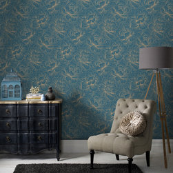 Graham & Brown - Flourish Wallpaper - Large scale floral blooms, hand draw with fine metallic linear detail. This delicate flourish is available in natural lusty shades through to lavish jewel colours.