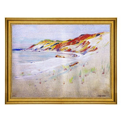 """Arthur Wesley Dow-18""""x24"""" Framed Canvas - 18"""" x 24"""" Arthur Wesley Dow Gay Head, Martha's Vineyard framed premium canvas print reproduced to meet museum quality standards. Our museum quality canvas prints are produced using high-precision print technology for a more accurate reproduction printed on high quality canvas with fade-resistant, archival inks. Our progressive business model allows us to offer works of art to you at the best wholesale pricing, significantly less than art gallery prices, affordable to all. This artwork is hand stretched onto wooden stretcher bars, then mounted into our 3"""" wide gold finish frame with black panel by one of our expert framers. Our framed canvas print comes with hardware, ready to hang on your wall.  We present a comprehensive collection of exceptional canvas art reproductions by Arthur Wesley Dow."""