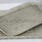 Simple Tray - Simple Tray. Textured. Nickel Finish. Handmade. For wholesale trade inquiry,please e-mail us info@sfhindia.com