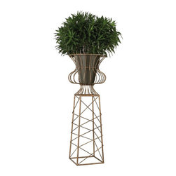 Sterling Industries - Oversized Planter In Gold Metal - OVERSIZED PLANTER IN GOLD METAL