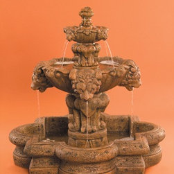 Courtyard Lion Fountain - Small - Courtyard Lion Fountain - Small is perfect to use as a striking focal point in a smaller outdoor areas. This fountain creates a soothing and relaxing atmosphere in your favorite spot. This fountain will also bring beauty as well as the soothing sound of water to you yard or garden.