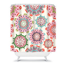 Shower Curtain Flower Aqua Pink  71x74 Bathroom Decor Made in the USA - DETAILS:
