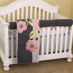 Cotton Tale Designs - Poppy Front Crib Rail Cover Up Set - A quality baby bedding set is essential in making your nursery warm and inviting. Cotton Tale uses quality materials and unique designs to create your perfect nursery. Poppy is an all cotton set with contemporary poppy applique. Poppy Front Crib Rail Cover Up Set includes fitted crib sheet, dust ruffle, coverlet, and front cover up. Woven cotton hounds tooth in black and white, combined in a patchwork of black, white, pink, and citrus green. The Poppy front cover up is both function and design, measuring 51 x 15. What a great idea, this front rail cover up protects your foot board on the convertible cribs and it looks great. For the parent choosing not to use a bumper, it can add the needed decor lost when the bumper is removed. Fun patchwork poppies appliqued on a light weight comforter, reverse in big dot pink. Big dot pink sheet and tailored black and white stripe crib skirt combine to make this current and cute. Machine wash, cold water, gentle cycle, separately. Tumble dry low, or hang to dry. This collection is perfect for your little girl.