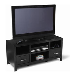 Convenience Concepts - Contemporary TV Stand w Storage Drawers - Black wood grain veneer over MDF. Three storage compartments. Two storage drawers. Limited warranty. Assembly required. 47.5 in. W x 18 in. D x 22 in. H (94 lbs.)