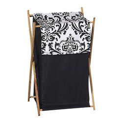 Sweet Jojo Designs - Isabella Black and White Laundry Hamper by Sweet Jojo Designs - The Isabella Black and White Laundry Hamper by Sweet Jojo Designs, along with the  bedding accessories.