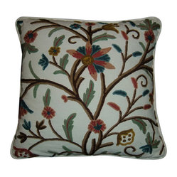Crewel Pillow Tree of Life Multi Color on White 20x20