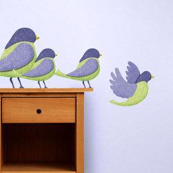 My Wonderful Walls - First Flight Bird Wall Stickers - 4 large fabric bird wall stickers