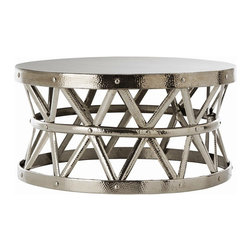 Alliyah Rugs - Hammered Drum Cross Coffee Table - Drum Cross Coffee Table hand made round metal have a hammered iron nickel finish that combines modern appeal with a touch of the exotic.