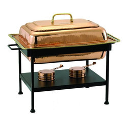 Old Dutch International - Rectangular Decor Copper Chafing Dish - Includes wrought iron stand. Copper plated. Made from steel. Copper finish. 21.25 in. L x 14 in. W x 17 in. H (27 lbs.)8 Qt. rectangular decor copper chafing dish. 8 Qt. Stainless steel food pan is oven safe to 350F, water-bath design keeps food at the perfect serving temperature without drying out. Chafing dish features brass knob and accented rim.