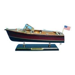 "Handcrafted Model Ships - Chris Craft Triple Cockpit 14"" - Speed Boat Model - Sold fully assembled."