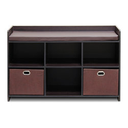 Furinno - Furinno 13138EX/EX/BR Econ Storage Bench - Furinno Econ Storage Bench with Comfy Cushion is designed to fit in your space, your style and fit on your budget. This unit works great in any home entryway since it can be used to sit on while also holding your shoes underneath. The Particleboard is manufactured in Malaysia and comply with the green rules of production. There is no foul smell, durable and the material is the most stable amongst the particleboards. The non-woven bin simply add in a sweet accent to the whole unit. A simple attitude towards lifestyle is reflected directly on the design of Furinno Furniture, creating a trend of simply nature. All the products are produced and assembled 100-percent in Malaysia with 95% - 100% recycled materials.