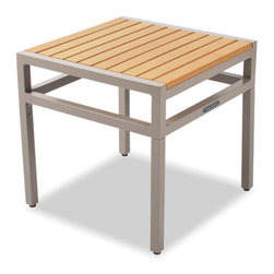 Thos. Baker - cafe side table (taupe w/ teak ROM) - Our cafe collection tables feature powder-coated aluminum frames with high-tech recycled outdoor material (ROM) slats. a thos. baker exclusive in the US, ROM is the most natural looking recycled furniture material in the world today with a proprietary finishing process that seals and protects its authentic look.