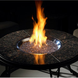 """Outdoor GreatRoom - Outdoor GreatRoom Granite Gas Fire Pit Table Multicolor - CFP42-K - Shop for Fire Pits and Fireplaces from Hayneedle.com! If you love to entertain particularly on cool evenings the Outdoor GreatRoom Granite Gas Fire Pit Table is perfect for your patio or backyard arrangement. This is a table that brings indoor comfort and convenience out for some fresh air! The 42-inch table offers ample space for you and your guests to sit down for a meal with the assorted food and beverages laid out in the center on a lazy Susan. And when the meal is over you can ignite the fire pit with propane or natural gas that won't send up plumes of smoke or leave soot in its wake. If it's a warm day's get-together the bowl can easily be switched out for a beverage cooler or ice-bowl (sold separately). The table itself is made of stunning granite on a durable aluminum frame that you can depend on. With a table as fine as this you'll want to have all your meals in the openness of your own backyard. About Outdoor GreatRoom CompanyWith over 50 patents to its name the Outdoor GreatRoom Company is one of the most innovative names in gas fireplaces and outdoor design period. Since 1975 Dan Ron Steve and Ger have produced a yard of amazing products like the Heat-N-Glo that have changed the industry. In fact they want to change the way you think about your backyard or patio. It's about bringing the luxury and comfort of the living room outside to make an """"Outdoor Room."""" They want you to literally think outside the box. To make that beautiful concept a reality Outdoor GreatRoom designs manufactures and sells pergolas outdoor kitchens grills outdoor furniture fireplaces fire pits lighting and heating products. There's no better name in outdoor leisure than this fine Minnesotan company."""