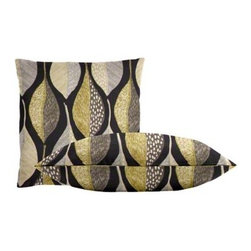 "Cushion Source - Woodblock Leaf Indigo Throw Pillow Set - The Woodblock Leaf Indigo Throw Pillow Set consists of 18"" x 18"" cotton throw pillows featuring an organic leaf motif in chartreuse, silver, beige, and white on a deep indigo background."