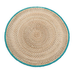 Kouboo - Round Rattan Placemats with Wood Beads, Set of 2 - Bring a little boho chic to your table with these placemats. The handwoven rattan is decorated with wood beads in a turquoise hue for a pop of vibrant color.