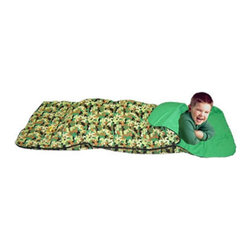 Bazoongi - Green Camouflage Big Kid Slumber Bag - BK-CBG - Shop for Slumber and Sleeping Bags from Hayneedle.com! The Green Camouflage Big Kid Slumber Bag is designed to look just like dad's with a boyish camo design that turns basements and bedrooms into hunting or scouting hideouts. Designed for children aged 3 and up this colorful children's sleeping bag features a 100% cotton outer shell and a lining fabric of 80/20 poly-cotton insulation colorfast fabrics that will keep the camouflage looking lush and outdoorsy. This bag can also be machined washed and dried so it's always clean and ready for another adventure.About Bazoongi KidsBased in Addison Texas Bazoongi Kids specializes in fun and practical children's products including backpacks slumber bags lunch boxes trampolines playhouses and tents. Using quality materials and superior craftsmanship they create long-lasting products that kids will eventually outgrow but won't demolish in 10 seconds flat. Bazoongi's in-house designers continue to develop cool stuff that kids will like using a lively sense of color and whimsical imagery to celebrate the joys of childhood.