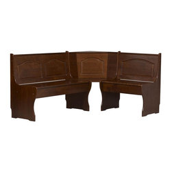 Linon - Corner Unit in Walnut Finish - Chelsea Collection. Bench and table not included. Under seat storage. Seats 5 people comfortably. Create a cozy spot. Constructed from pine and MDF . Minimal assembly required. 51.5 in. L x 67.5 in. W x 33.86 in. HChelsea Walnut Break Nook (Corner Unit Only). The nook corner bench and nook free-standing bench seats five people comfortably. You can determine the direction of the corner unit during nook assembly. Create a cozy spot for meals and conversation in any corner of the kitchen. The rich walnut finish on this corner nook provides a traditional look to this highly functional piece.