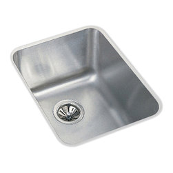 """Elkay - Elkay ELU1418  Gourmet Undermount Sink - Elkay's ELU1418 is a Gourmet Undermount Sink. This single-bowl sink is constructed of 18-gauge type 304 nickel bearing stainless steel, and can be mounted under almost any surface. It features a 7-7/8"""" bowl depth and a 3-1/2"""" drain opening."""