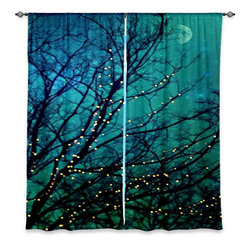 "DiaNoche Designs - Window Curtains Unlined - Sylvia Cook Magical Night - DiaNoche Designs works with artists from around the world to print their stunning works to many unique home decor items.  Purchasing window curtains just got easier and better! Create a designer look to any of your living spaces with our decorative and unique ""Unlined Window Curtains."" Perfect for the living room, dining room or bedroom, these artistic curtains are an easy and inexpensive way to add color and style when decorating your home.  The art is printed to a polyester fabric that softly filters outside light and creates a privacy barrier.  Watch the art brighten in the sunlight!  Each package includes two easy-to-hang, 3 inch diameter pole-pocket curtain panels.  The width listed is the total measurement of the two panels.  Curtain rod sold separately. Easy care, machine wash cold, tumble dry low, iron low if needed.  Printed in the USA."